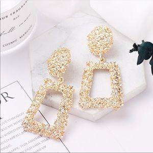 NEW! Gold Drop Door Knocker Statement Earrings